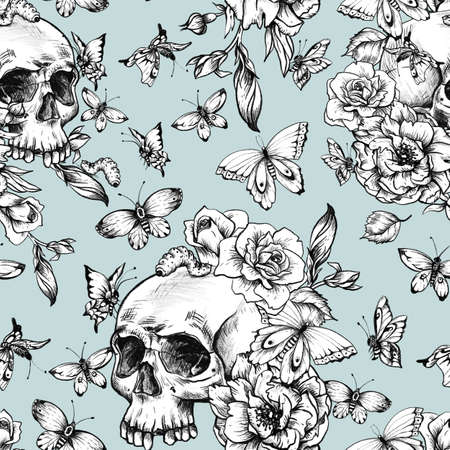 Vintage seamless pattern with goth skull, butterdlies and flowers on blue background. Dead of the dead texture. Stockfoto