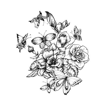 Vintage monochrome floral botanical illustration on white background. Black and white roses and butterflies. Natural collection.