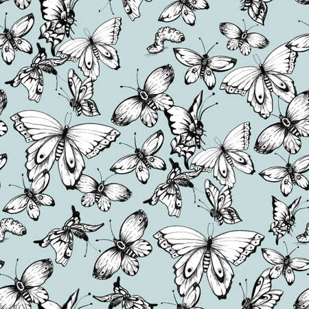 Vintage monochrome butterflies seamless pattern. Natural butterfly texture on blue background