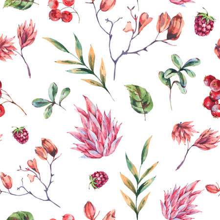 Watercolor winter flowers seamless pattern. Pink wildflowers, berries. Vintage botanical texture of wooodland plants. Forest floral wallpaper on white background.