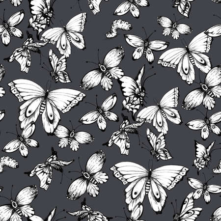 Vintage monochrome butterflies seamless pattern. Natural butterfly texture on black background
