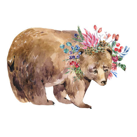 Watercolor bear with floral wreath isolated on white background. Forest animals illustration, wildflowers. Woodland creatures. Stockfoto
