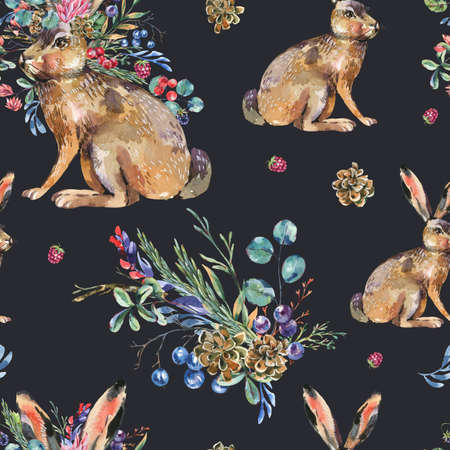 Watercolor hare with flowers seamless pattern on black background. Floral Easter bunny texture. Forest animals wallpaper. Woodland creatures. Stockfoto - 159014758