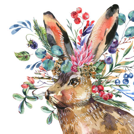 Watercolor hare with flowers isolated on white background. Floral Easter bunny. Forest animals illustration. Woodland creatures.