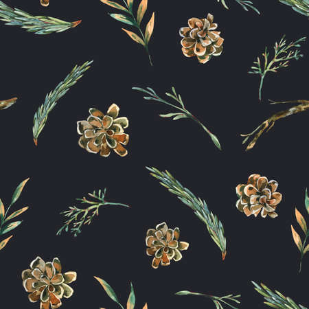 Watercolor forest fir branches seamless pattern with pine cones. Natural woodland texture. Botanical wallpaper on black background