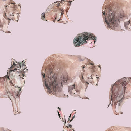 Watercolor winter forest animals seamless pattern. Bear, wolf, hare, hedgehog texture on pink background. Woodland creatures wallpaper. Stockfoto - 159014761