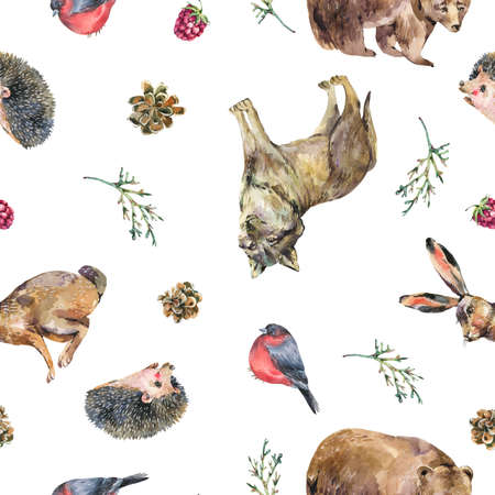 Watercolor seamless pattern with bear, hedgehog, wolf, hare on white background. Forest animals texture, wildflowers. Woodland wallpaper. Stockfoto