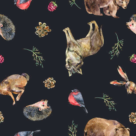 Watercolor seamless pattern with bear, hedgehog, wolf, hare on black background. Forest animals texture, wildflowers. Woodland wallpaper.
