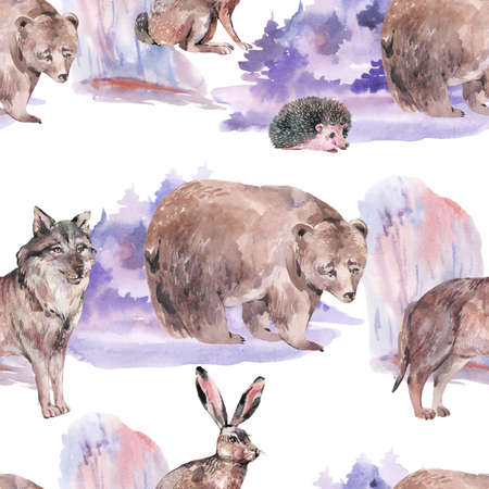 Watercolor winter forest animals seamless pattern. Bear, wolf, hare, hedgehog texture on white background. Woodland creatures wallpaper. Stockfoto