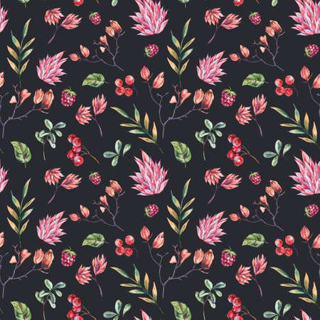 Watercolor winter flowers seamless pattern. Pink wildflowers, berries. Vintage botanical texture of wooodland plants. Forest floral wallpaper on black background. Stockfoto