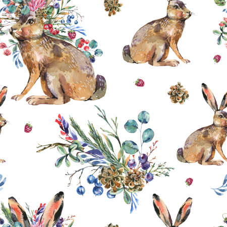 Watercolor hare with flowers seamless pattern on white background. Floral Easter bunny texture. Forest animals wallpaper. Woodland creatures.