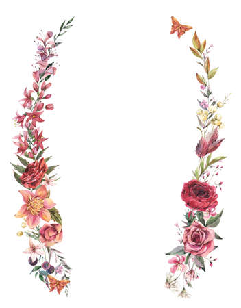Summer frane template. Vintage flowers greeting card. Watercolor floral wreath illustration, botanical flora and butterfly isolated on white background. Stockfoto - 162054708