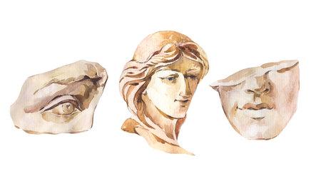 Greek sculpture David eye, woman face. Classical head sculpture, Dark academia vintage illustration isolated on white background. Stockfoto