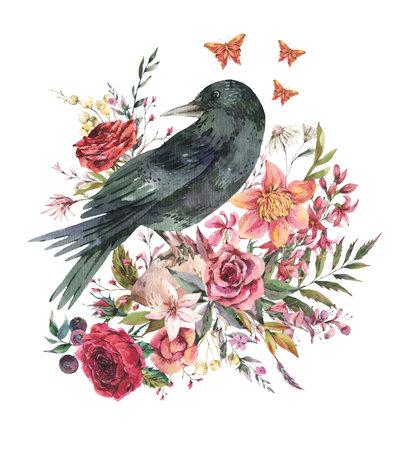Black raven vintage greeting card with flowers. Burgundy roses natural illustration isolated on white background, Botanical card
