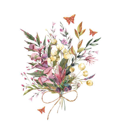 Watercolor vintage floral summer wildflowers arrangement. Natural botanical illustration isolated on white background. Stockfoto - 162054712