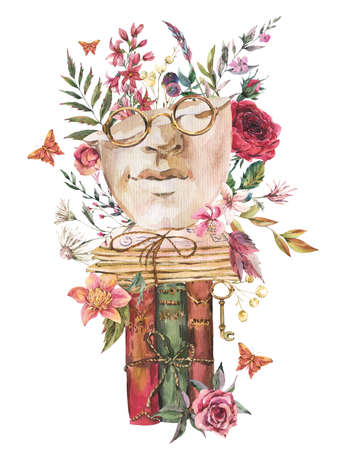Greek sculpture with dry flowers greeting card. Dark academia floral vintage illustration. Butterfly, glasses, books, old key isolated on white background.