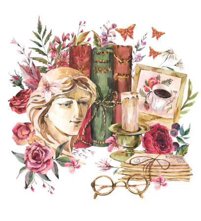 Greek sculpture with wildflowers, old books, letters, glasses. Botanical wloral greeting card with plaster woman face. Dark academia vintage illustration isolated on white background.