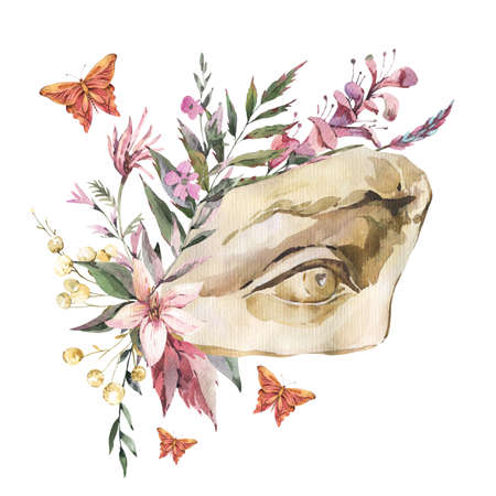 Dark academia floral vintage illustration. Greek sculpture David eye with dry flowers, butterfly isolated on white background. Stockfoto