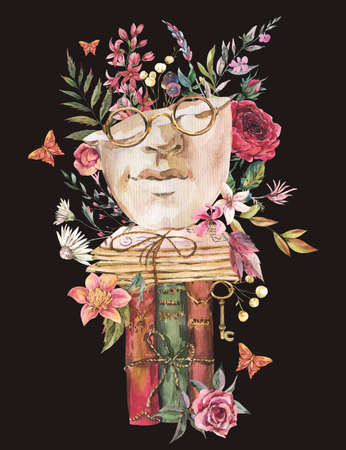 Greek sculpture with dry flowers greeting card. Dark academia floral vintage illustration. Butterfly, glasses, books, old key isolated on black background.