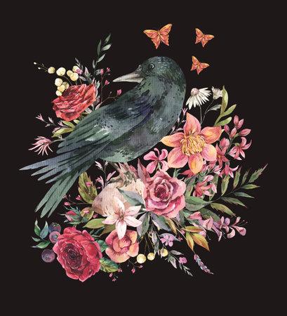 Black raven vintage greeting card with flowers. Burgundy roses natural illustration isolated on black background, Botanical card Stockfoto