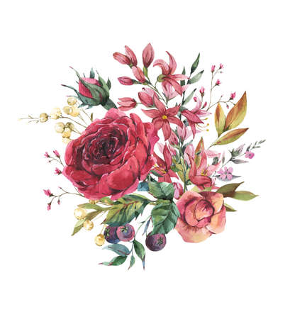 Watercolor vintage burgundy rose and wildflowers greeting card. Natural botanical illustration isolated on white background.