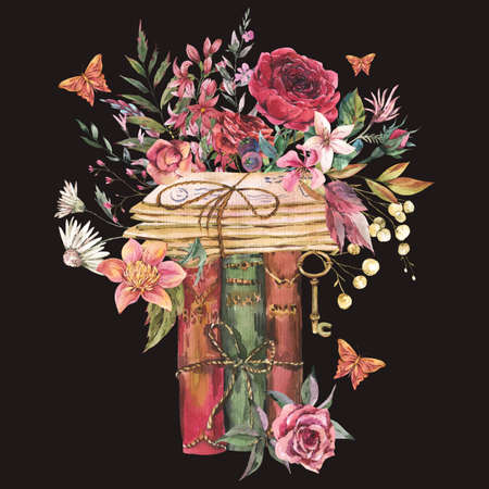 Watercolor vintage old books with flowers. Natural greeting card. Dark academia floral illustration isolated on black background. Stockfoto - 162055766