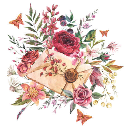 Watercolor vintage oldletter with flowers. Natural greeting card. Dark academia floral illustration isolated on white background.