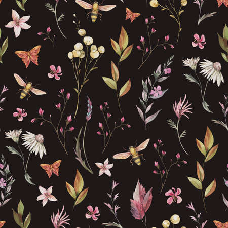 Watercolor vintage floral summer seamless pattern. Natural botanical texture on black background. Dry flowers wallpaper Stockfoto - 162055769