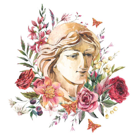 Greek sculpture with wildflowers. Botanical wloral greeting card with plaster woman face. Classical head sculpture, Dark academia vintage illustration isolated on white background.