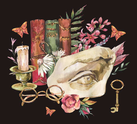 Dark academia floral vintage illustration. Greek sculpture David eye with dry flowers, butterfly and glasses, books, old key isolated on black background. Stockfoto