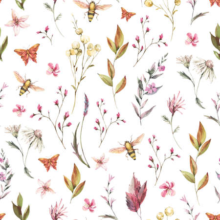 Watercolor vintage floral summer seamless pattern. Natural botanical texture on white background. Dry flowers wallpaper Stockfoto - 162055797
