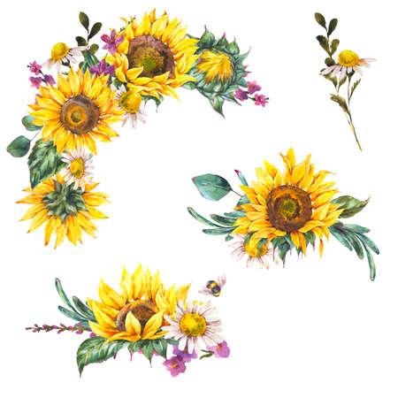 Watercolor set of rustic farmhouse sunflower wildflowers, meadow flowers bouquet.