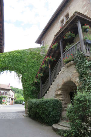 House in the medieval village of Nernier, Haute-savoie France. Stock Photo