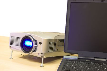 presentation equipment - notebook and attached projector