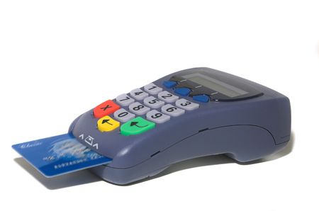 maestro: Isolated pin pad with inserted credit card.  Stock Photo