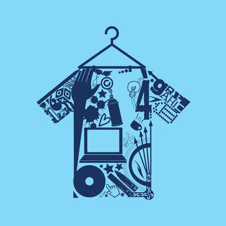 Funky Vector Graphic T Shirt Icon Logo Illustration Иллюстрация