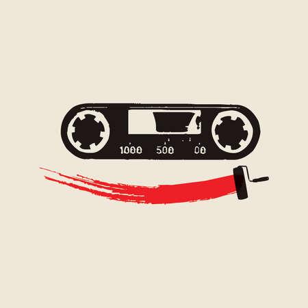 Vector Radio Music Tape Retro Graphic Design Illustration Иллюстрация