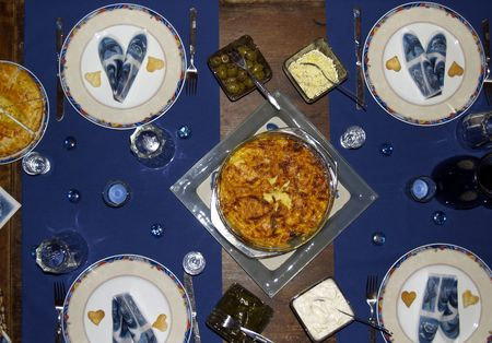 menue: Dinner for four Stock Photo