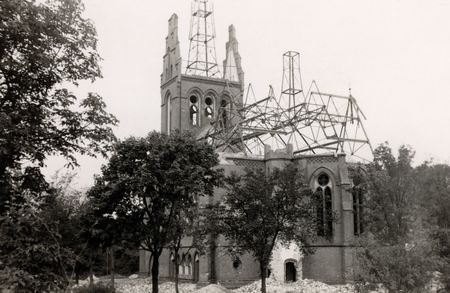 bombed: Bombed out church in norway during world war two.grainy. only serious dust and scratches are removed to conserve the original character.photography (done by my deceased father) that I have inherited including the full copyright Stock Photo