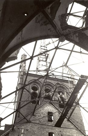 bombed: Bombed out church in norway during world war two. grainy. only serious dust and scratches are removed to conserve the original character.photography (done by my deceased father) that I have inherited including the full copyright Stock Photo