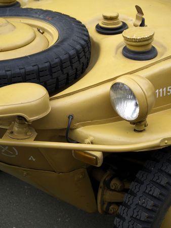 the amphibious: detail of military amphibious car