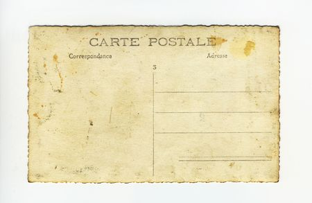 back of grungy vintage postcard
