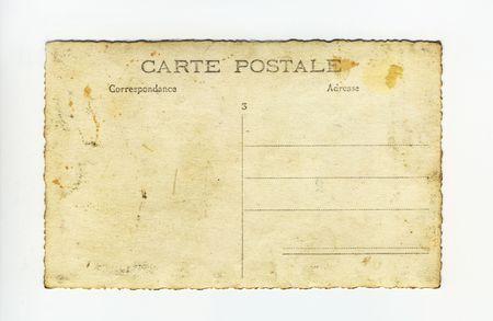back of grungy vintage postcard photo