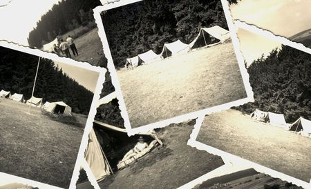 vintage grungy black and white photos of camp of tents in the 1950s. all photos included where taken by my deceased father. I am owner of all rights incl. copyright.