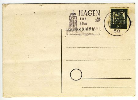 old postcard with blank address field Stock Photo