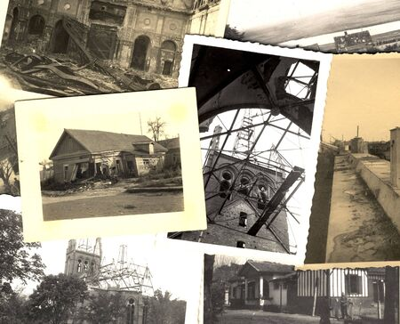 Ruins. Collage of vintage grungy black and white photos taken during world war II. all photos included where taken by my deceased father. I am owner of all rights incl. copyright.