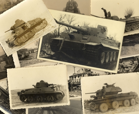 Tanks. Collage of vintage grungy black and white photos taken during world war II. all photos included where taken by my deceased father. I am owner of all rights incl. copyright. Stock Photo