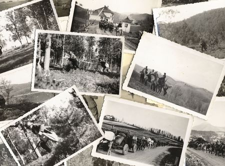 warfare: Troops. Collage of vintage grungy black and white photos taken during world war II. all photos included where taken by my deceased father. I am owner of all rights incl. copyright.