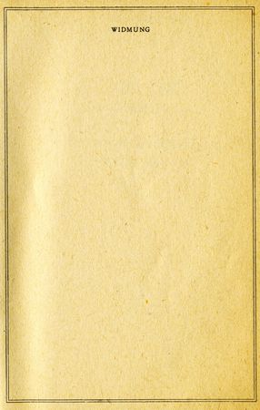 dedication: page of vintage book with space for dedication