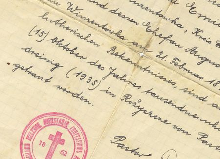 marriage certificate: vintage handwriting from marriage certificate